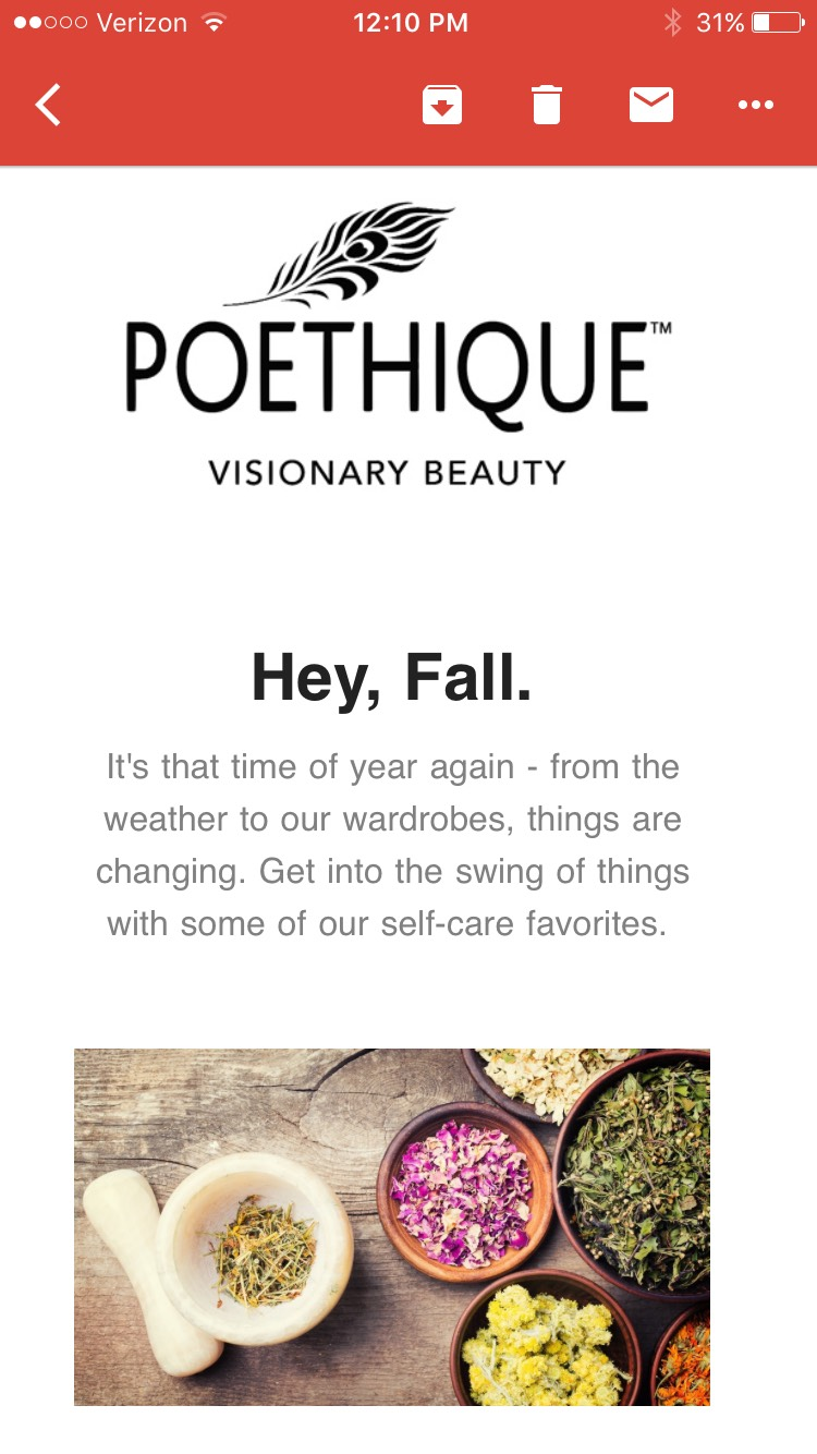 Poéthique Beauty Newsletter| Email Marketing